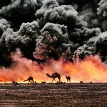 "Al Ahmadi, Kuwait, 1991, KUWAIT-10001.  Camel and Oil Fields  Sandwiched between blackened sand and sky, camels search for untainted shrubs and water in the burning oil fields of southern Kuwait. Their desperate foraging reflects the environmental plight of a region ravaged by the gulf war. Canby, Thomas Y. (August 1991)  ""The first Gulf War taught us a new lesson in unconventional conflict. Saddam Hussain's army filled the skies of southern Kuwait with black poignant smoke from the burning oil lines. It was a powerful, debilitating symbol. And there was another. McCurry, who was covering the war, saw camels running in terror from the fires. Both images -whether of the fires or of the animals- were powerful representations of the chaos of that time. Central to McCurry's reputation as a journalist is his discipline to wait, and to search, and then to recognize the most telling image. The juxtaposition of the fire and smoke and camels running amok creates an icon of that war."" - Phaidon 55  National Geographic, Vol. 180, No. 2, pgs. 2-3, August 1991, The Persian Gulf: After the Storm  Phaidon, 55, Iconic Images, final book_iconic, final print_milan, iconic photographs  As his army retreated from Kuwait, Saddam Hussein ordered the ignition of the oil fields that scatter the country. The effect was an ecological disaster of unimaginable scale. These camels are running from the fires. It is a futile effort: soon they will covered in oil that rains down from the sky.  Struggling camels silhouetted against the oil-fire, al-Ahmadi oil field, Kuwait, 1991. Pg 88,89, Untold: The Stories Behind the Photographs  Steve Mccurry_Book Iconic_Book Untold_book Milan_Exhibit_'09 final print_Sao Paulo final print_MACRO  MAX PRINT SIZE: 40X60  Retouched_Sonny Fabbri 08/04/2016"
